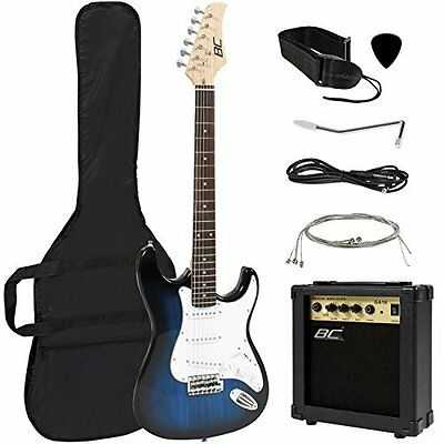 Full Size Blue Electric Guitar with Amp Case and Accessories Pack Beginner St...