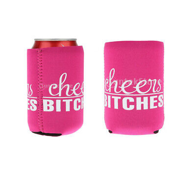 2Pcs Cheers Bitches Beer Bottle Tin Can Cooler Cover Sleeve Holder Wedding Favor