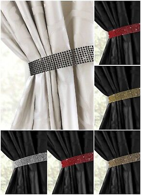 One Pair (2) Diamante Bling Crystal Tie Backs - Curtain Voiles Holdbacks