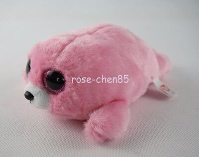 "6"" Ty Beanie Boos Yodeler Pink Seal Glitter Eyes Plush Stuffed Girl Toys"