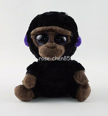 "6"" Ty Beanie Boos Romeo the Black Gorilla Purple Eyes Plush Stuffed Girl Toys"