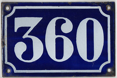 Old blue French house number 360 door gate plate plaque enamel metal sign c1900