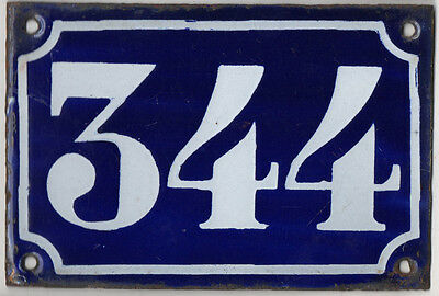 Old blue French house number 344 door gate plate plaque enamel metal sign c1900