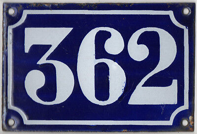 Old blue French house number 362 door gate plate plaque enamel metal sign c1900