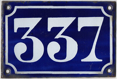 Old blue French house number 337 door gate plate plaque enamel metal sign c1900