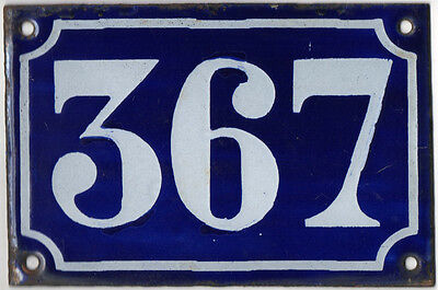 Old blue French house number 367 door gate plate plaque enamel metal sign c1900