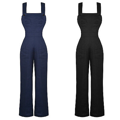 Hell Bunny Penny Wide Leg 1940s WW2 Landgirl Dunagrees Jumpsuit Overalls UK