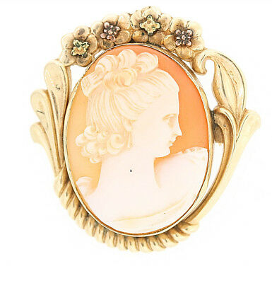 Antique 10k Yellow Gold 30x22mm Cameo Pendant Pin/Brooch
