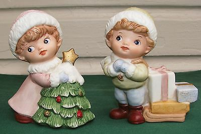 HOMCO 5556 Christmas Girl With Tree & Boy with Sled Figurines - Excellent Cond.
