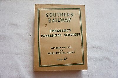 Oct 1939 Southern Railway Passenger Services Emergency WW2 Timetable