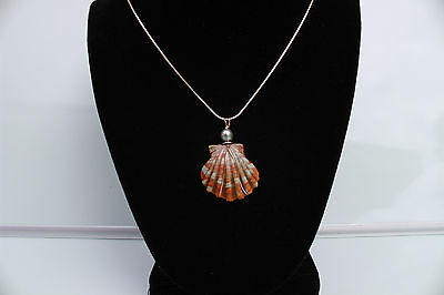 14KGF Rose Gold wire wrapped Hawaiian Sunrise Shell & Freshwater Pearl Necklace
