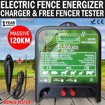 NEW 120km 5J 240Volt Electric Fence Energiser Charger & FREE Fence Tester