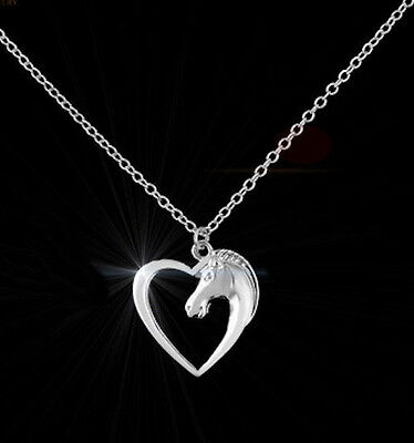 Horse & Western Jewellery Jewelry Ladies Womens Heart Horse Necklace Silver