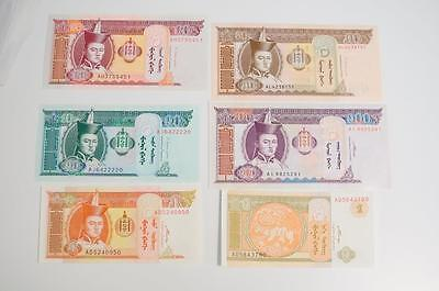 6 Pc Banknote Lot 1993(ND) MONGOLIA Crisp Uncirculated 10 sets