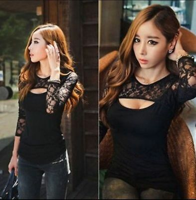 Fashion Sexy Womens Ladies Floral Lace Shirt Long Sleeve Tops