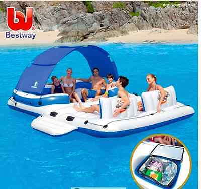 Inflatable Raft Floating Blow up Sunshade Lounge Chair Bestway Cooler 6 Person