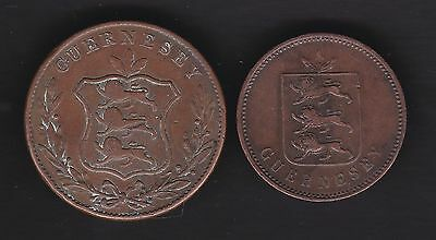 GB, Isle of Guernsey 1830 4 doubles and 1834 8 doubles