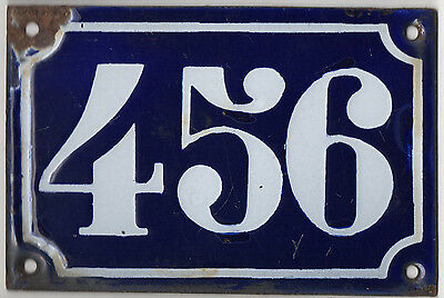 Old blue French house number 456 door gate plate plaque enamel metal sign c1900