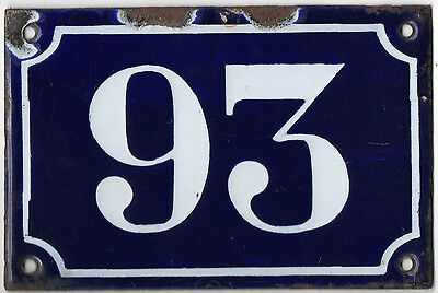 Old blue French house number 93 door gate plate plaque enamel metal sign c1900