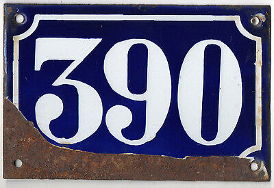 Old blue French house number 390 door gate plate plaque enamel metal sign c1900