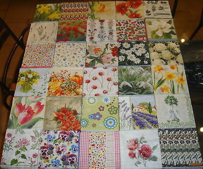 30 different floral flower table napkins decoupage new