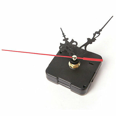 DIY Black Movement Quartz Mechanism Silent Clock and Red Hands Part Kit Tool