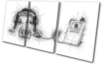 Cute Dog Music DJ Scribble Animals TREBLE CANVAS WALL ART Picture Print