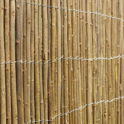 4M Willow Wooden Garden Fence Panel Roll   Natural Outdoor Screening Eco Fencing