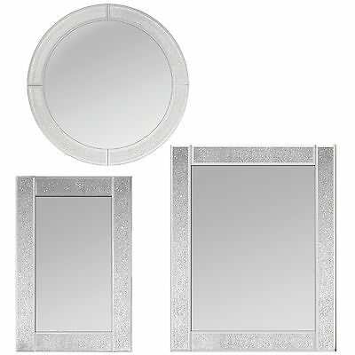 Large Silver Glitter Mirror Frame Glass Living Room Lounge