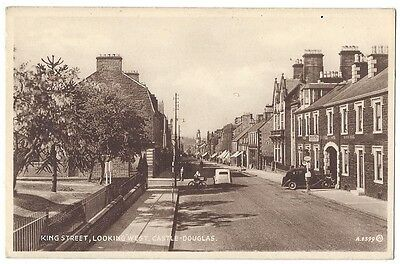 CASTLE DOUGLAS King Street, Old Car at Petrol Pump, Postcard by Valentine Unused