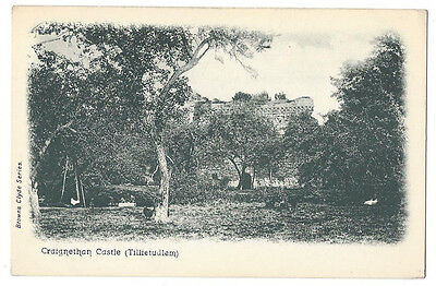 CRAIGNETHAN CASTLE Tillietudlem, Lanarkshire, Old Postcard, Brown's Clyde Series