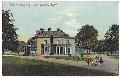 ELGIN Cooper Park and Public Library, Postcard by Tuck, Unposted