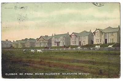 MILNGAVIE Clober Road from River Allander, Postcard Pub by Weir, Posted c1911