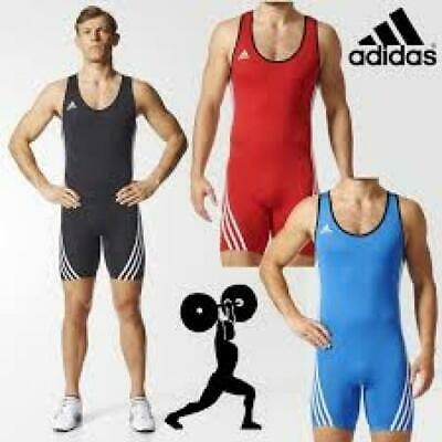 ADIDAS WEIGHTLIFTING MEN'S ADULTS BASE LIFTER SUIT - Black Blue Red