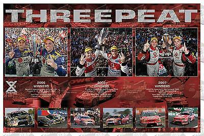 THREEPEAT - 2006, 2007, 2008 Bathurst 1000 Victory dual signed by Craig Lownd...