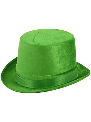 Velour Green Top Hat St Patricks Day Riddler New Party Fancy Dress Dance Theatre