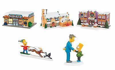 The Simpsons Christmas Village Set - 3 Houses w Kwik E Mart and 2 Figures w Bart