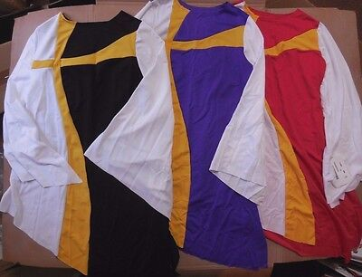 NWT Praise Liturgical Bell Sleeve Top Gold Cross Inset 3 color choices Adlt/Chld