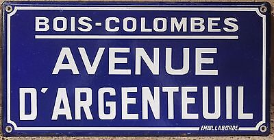 Old French enamel steel street sign road plaque Avenue Argenteuil Paris Colombes