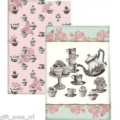 Katie Alice CUPCAKE COUTURE TEA TOWELS Shabby Chic Cotton Towel - Set of 2