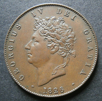 1826 halfpenny - UK George IV - about aEF