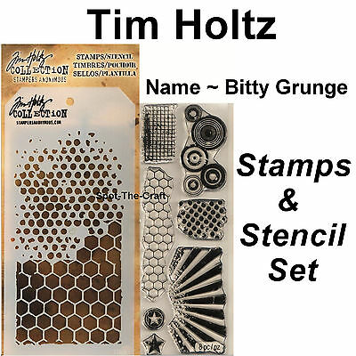 Tim Holtz ~ Bitty Grunge ~ Stamps & Stencil Set ~ Circles, Honeycomb, Rays Stars