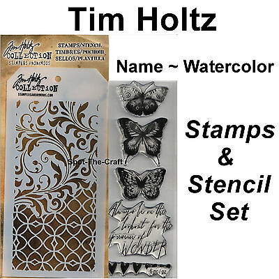 Tim Holtz ~ Watercolor ~ Stamps & Stencil Set ~ Butterflies, Hearts, Wonder