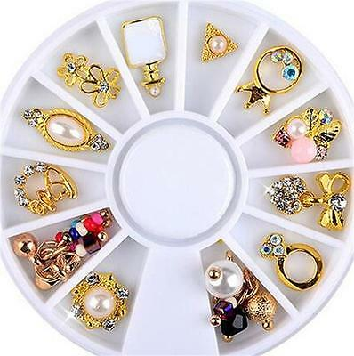 14PCS 3D Nail Art Wheel GOLDEN Fashion Flower Ring Charms Jewelry Decoration