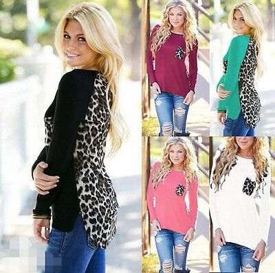 Fashion Womens Ladies Leopard Chiffon Long Sleeve Blouse Tops T-Shirt S - 5XL