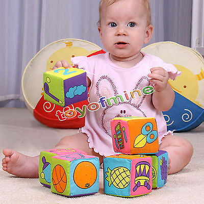 6pcs 7cm Baby Ring Rattle Educational Plush Toys Soft Building Blocks Cube Cloth