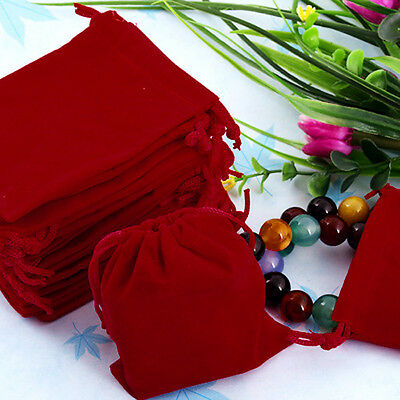 Lot 75x/set Wholesale Red Velvet Drawstring Bags Pouches Bag for Jewelery Gift
