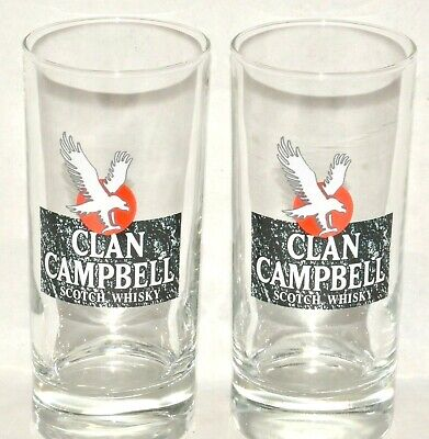 CLAN CAMPBELL WHISKY 2 Verres tube 17 cl NEUF