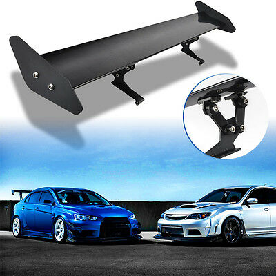 Universal Car Adjustable Aluminum Light Weight Rear Racing Spoiler Wing Black AU