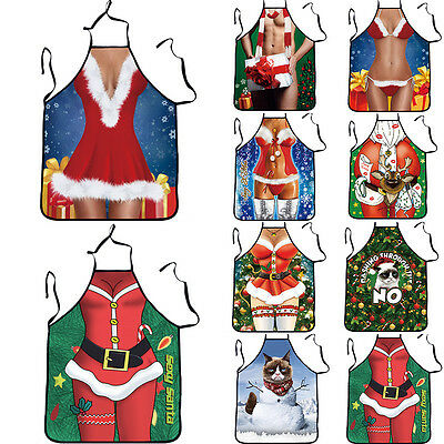Novelty Christmas Dinner BBQ Funny Cooking Aprons Kitchen Rude Women Mens Gift u